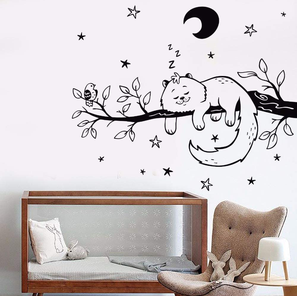 Modeganqingg Vinilo Tatuajes de Pared Continental Home Art Wall Cat Bird Twig Night Star Kindergarten Moon Sticker 93.6cmX75.6cm: Amazon.es: Hogar