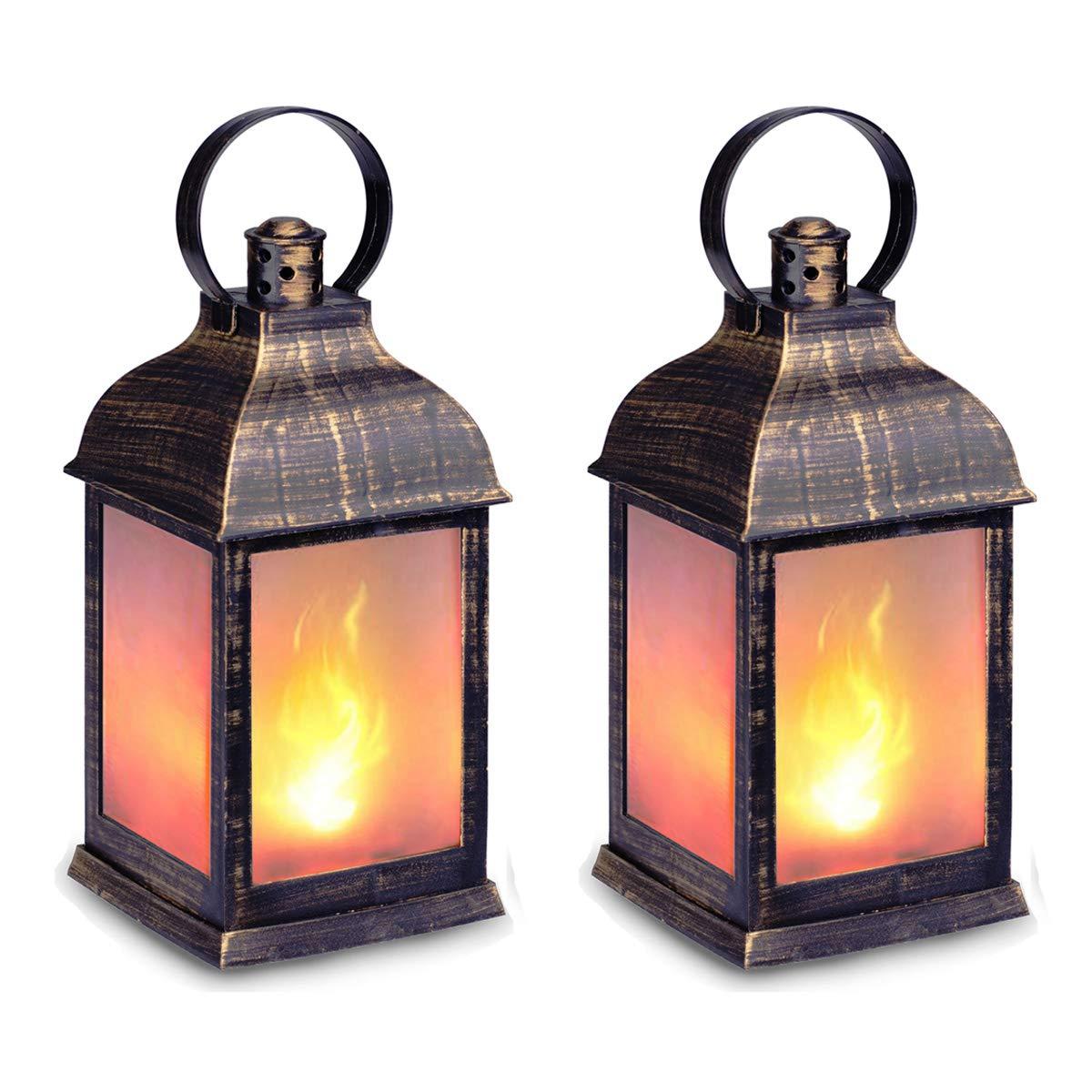 zkee 11'' Vintage Style Decorative Lantern,Flame Effect LED Lantern,(Golden Brushed Black,4 Hours Timer) Indoor Lanterns Decorative,Outdoor Hanging Lantern,Decorative Lanterns by zkee