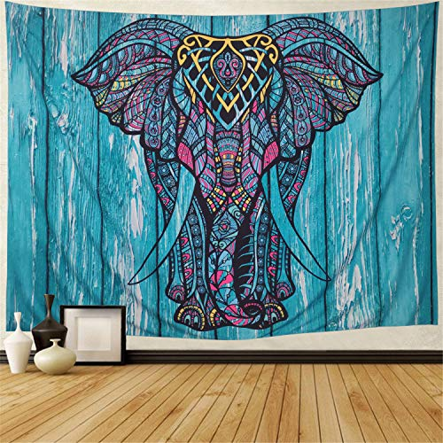 """Elephant Tapestry Wall Hanging Tapestry Blue Wall Tapestry Psychedelic Hippie Bohemian Tapestry for Dorms Decor(Blue Elephant,70.8"""" × 90.5"""")"""