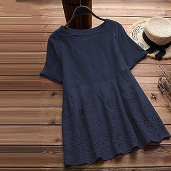 FRAUIT Camiseta Vintage Mujer Tops Solidos Blusa Floral ...