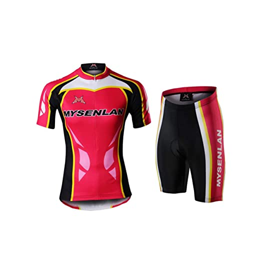 d62613c0a Image Unavailable. Image not available for. Color  Mysenlan Women s Cycling  Jersey   Shorts Set 3D Padded Short Pants Short Sleeve ...