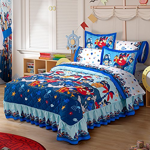 Pirates Twin Size Bedspread And Sheets 5pc Set With