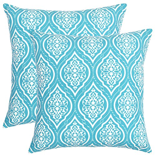 Isabella Beddings Throw Pillow Covers Both Side Printed Cushion Cover 20 x 20 Inches Set of 2 Handmade Decorative Pillows in Turquoise Color