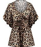 Meaneor Women V-neck Slimming Short Sleeve Smocked Empire Waist Tank Batwing Top (4XL, Leopard)