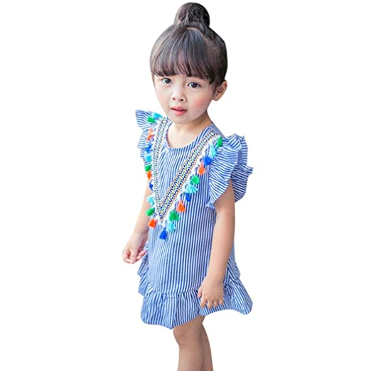 86cf91e0f99da Amazon.com: Lurryly 2018 Baby Girls Toddler Kids Clothes Cute Stripe ...