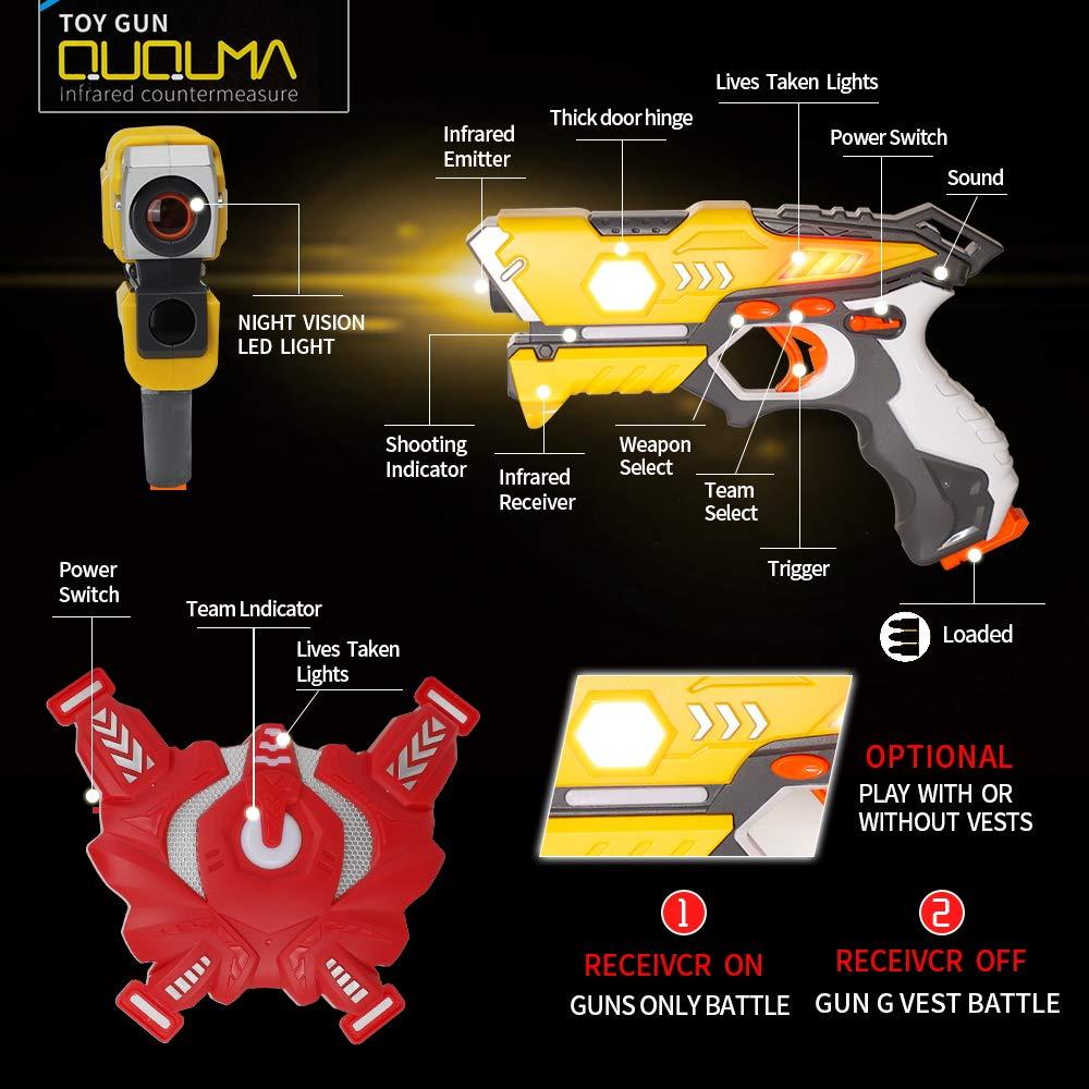 QUQUMA Infrared Laser Tag Set 4 Guns 4 Vests - Indoor Outdoor Laser Gun Kit Toy for Girl & Boy Laser Tag Game Set Best Gift Boys Girls(Laser Guns) by QUQUMA (Image #4)