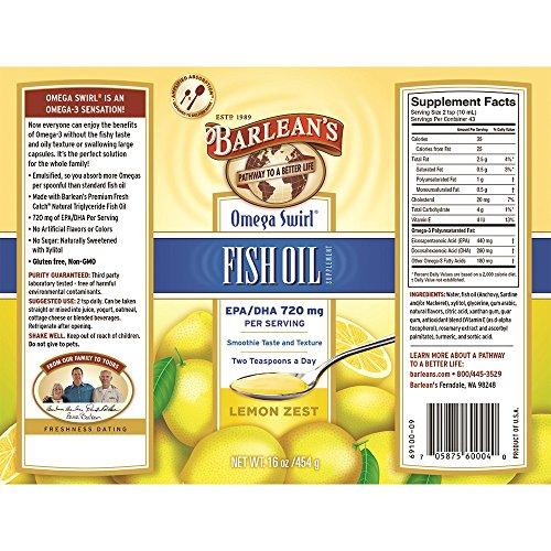 Barlean's Organic Oils Omega Swirl Fish Oil, Lemon Zest, 16-Ounce by Barlean's (Image #1)