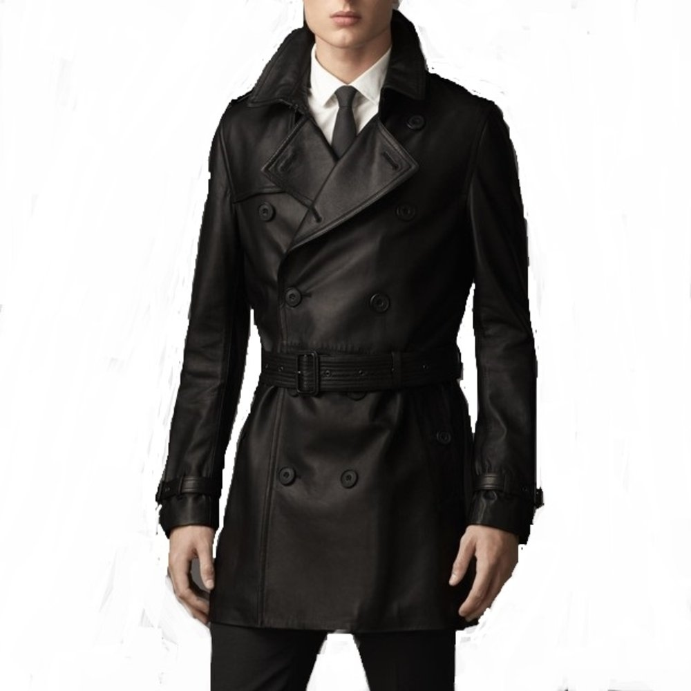 Number Seven Leather Long Trench Coat for Men Slim Style
