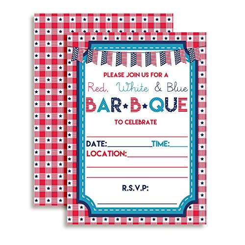 Red White and Blue BBQ Party Invitations, 20 5