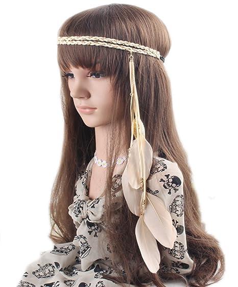 37d41fdbc417b Feather Headband Bohemian Festival Belly Dance Tribal Bridal Wedding  Headpiece