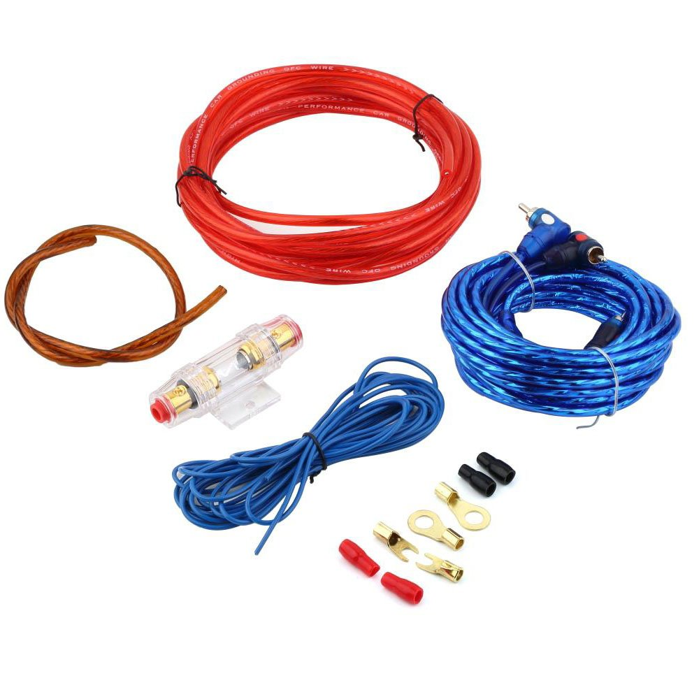 Eaglerich 1500W 8GA Car Audio Subwoofer Amplifier AMP Wiring Fuse Holder Wire Cable Kit
