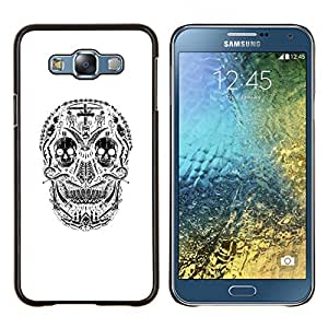 YiPhone /// Prima de resorte delgada de la cubierta del caso de Shell Armor - Blanco Cráneo Sonrisa espeluznante muerte Negro - Samsung Galaxy E7 E700
