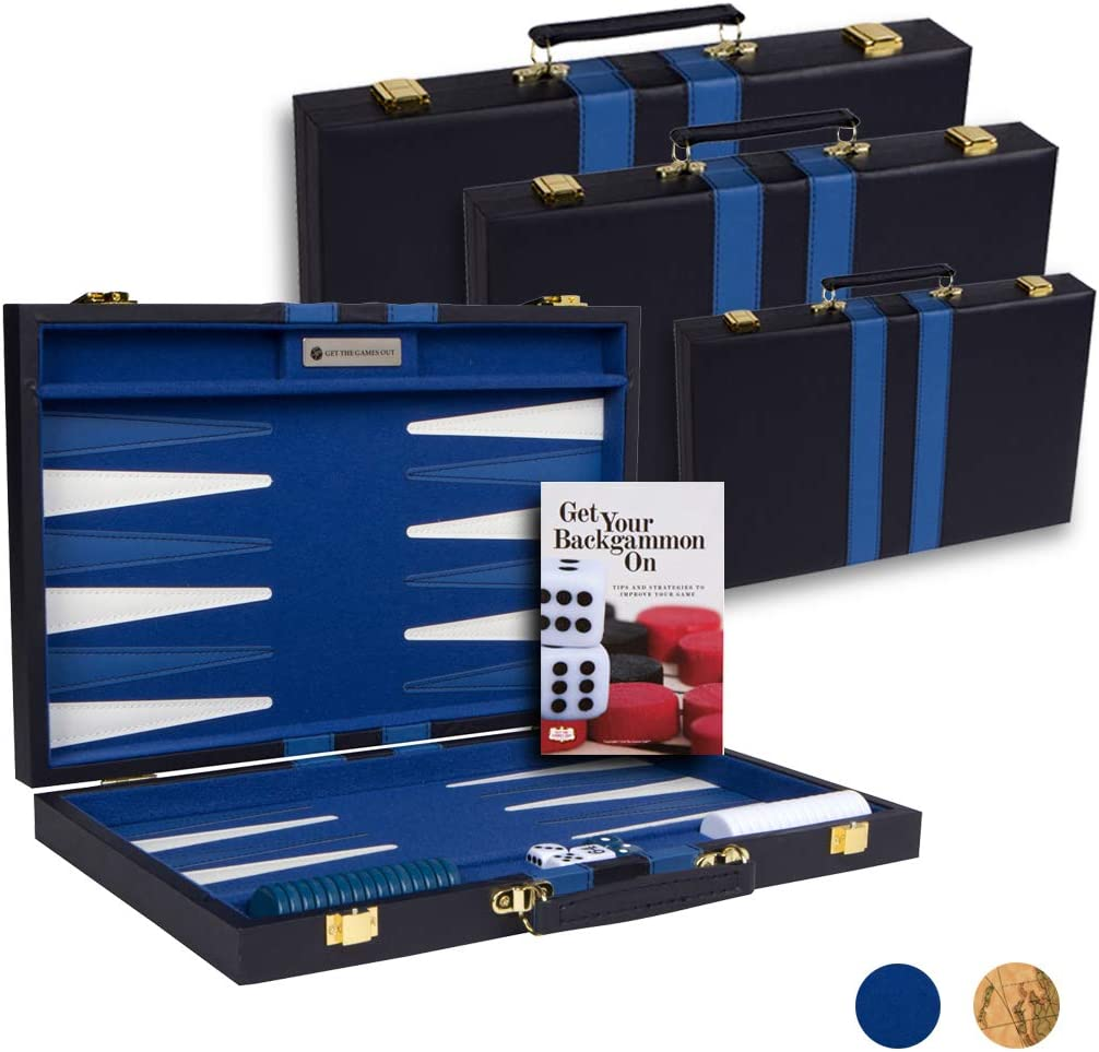 Get The Games Out Top Backgammon Set - Classic Board Game Case - Best Strategy & Tip Guide - Available in Small, Medium and Large Sizes (Blue, Large)