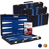 Get The Games Out Top Backgammon Set - Classic Board Game Case - Best Strategy & Tip Guide - Available in 15 Inch, 19 Inch and 22 Inch Sizes (Blue, Small)