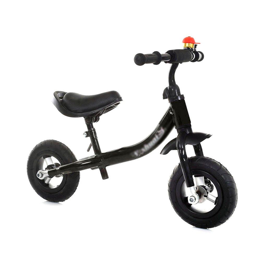 ベビースクーター子供スクーターペダルなしバギー子供二重ホイール自転車無ペダル二輪車スクーター2つのラウンドカーテンウォーカーの幼児は1.5~4歳 B01LWJ23HZ Black Black