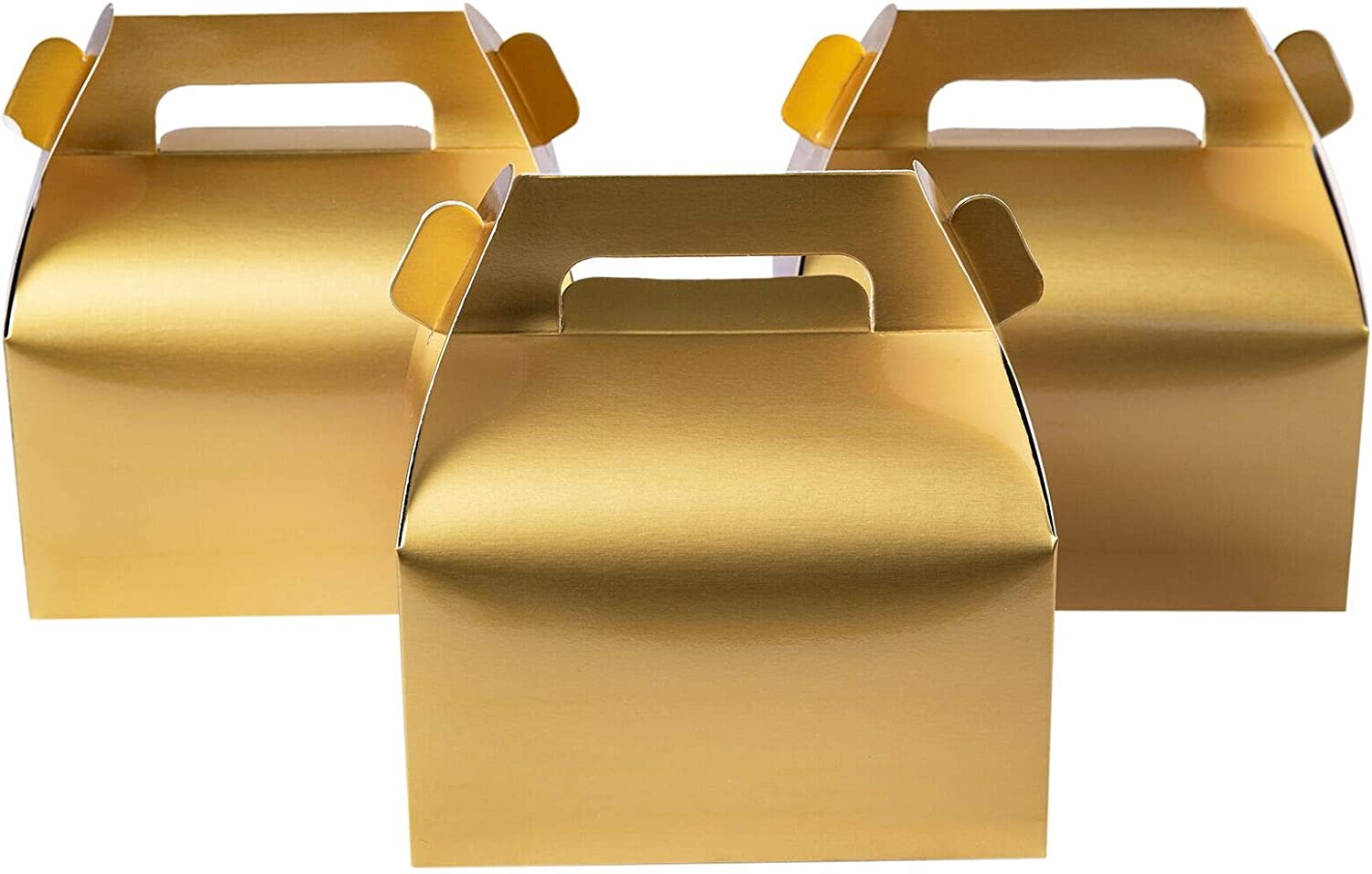 50-Pack Gable Metallic Gold Candy Treat Boxes,Small Goodie Gift Boxes for Wedding and Birthday Party Favors Box 6.2 x 3.5 x 3.5 inch