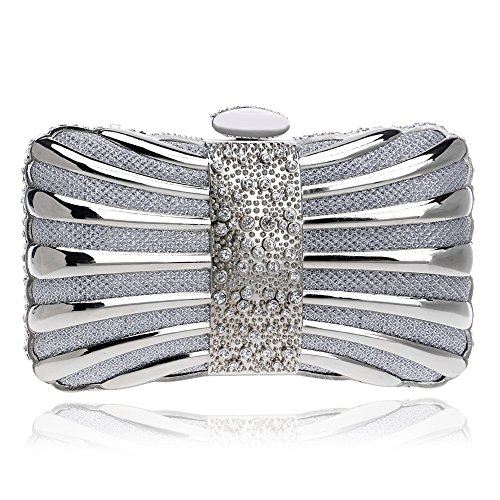 Color Women Bags Elegant Evening silver Diamonds Tie Mixed Bags Purse Crystal Evening Clutch Party KYS qatzdxOwt