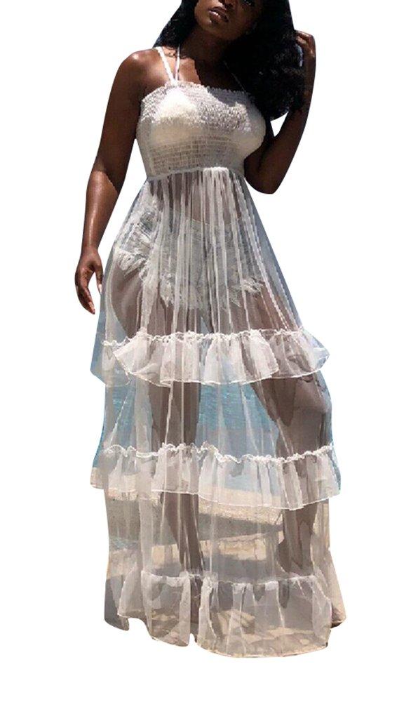 Lunaya Women Thin Strap Bodysuit Clubwear Maxi Mesh See Through Sexy Dresses White XL