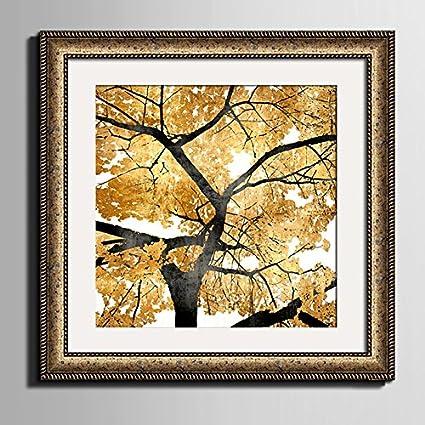 JIALELE Lienzo enmarcado Arte hojas amarillas del árbol lienzo ...