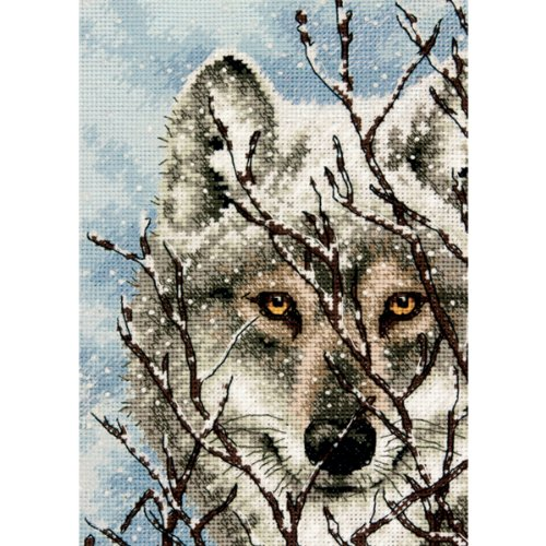 - Dimensions Gold Collection Counted Cross Stitch Kit, Wolf, 18 Count White Aida, 5'' x 7''