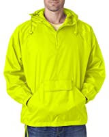UltraClub Men's Solid 1/4-Zip Hooded Pullover Pack-Away Coat