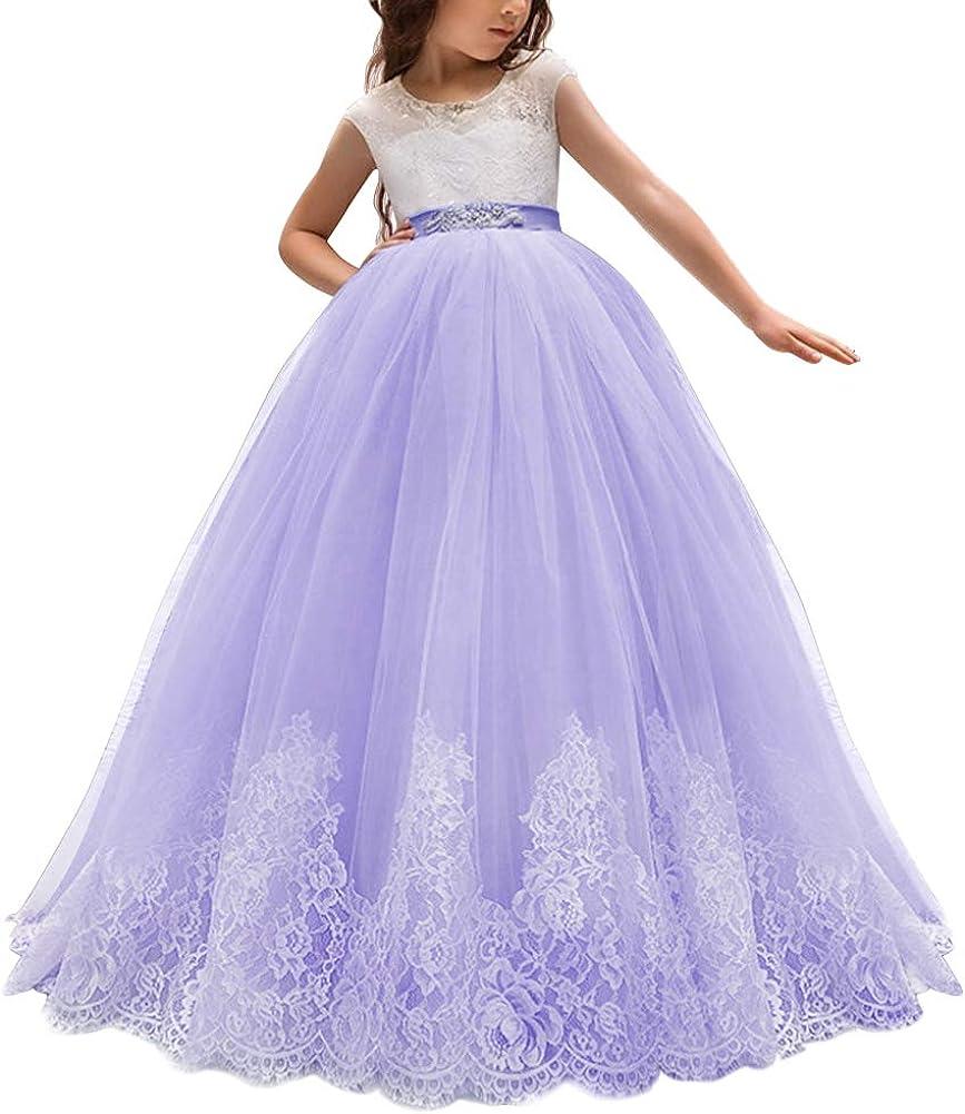 IWEMEK Princesa Vestido de Primera Comuni/ón Cord/ón Tul Vestido de Ni/ña de Flores de Appliques de Boda Vestidos de Dama De Honor Sin Mangas Cumplea/ños Fiesta Bola Navidad Pageant C/óctel 2-13 A/ños