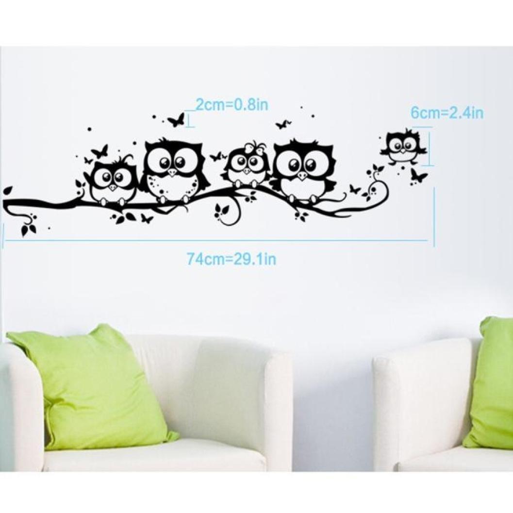 Noir Beautyjourney Deco Stickers Muraux,Kids Vinyl Art Dessin Anim/é Hibou Papillon Sticker D/éCoration D/éCo Autocollant