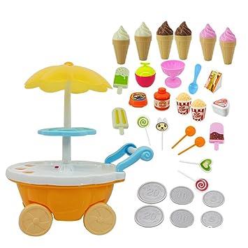 FDBF Carrito de Dulces para niña Tienda de Helados Supermercado Trolley Juguetes para niños con música Ligera: Amazon.es: Hogar