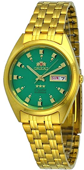 Amazon.com: Orient #FAB00001N Mens 3 Star Standard Gold Tone Green Dial Automatic Watch: Watches