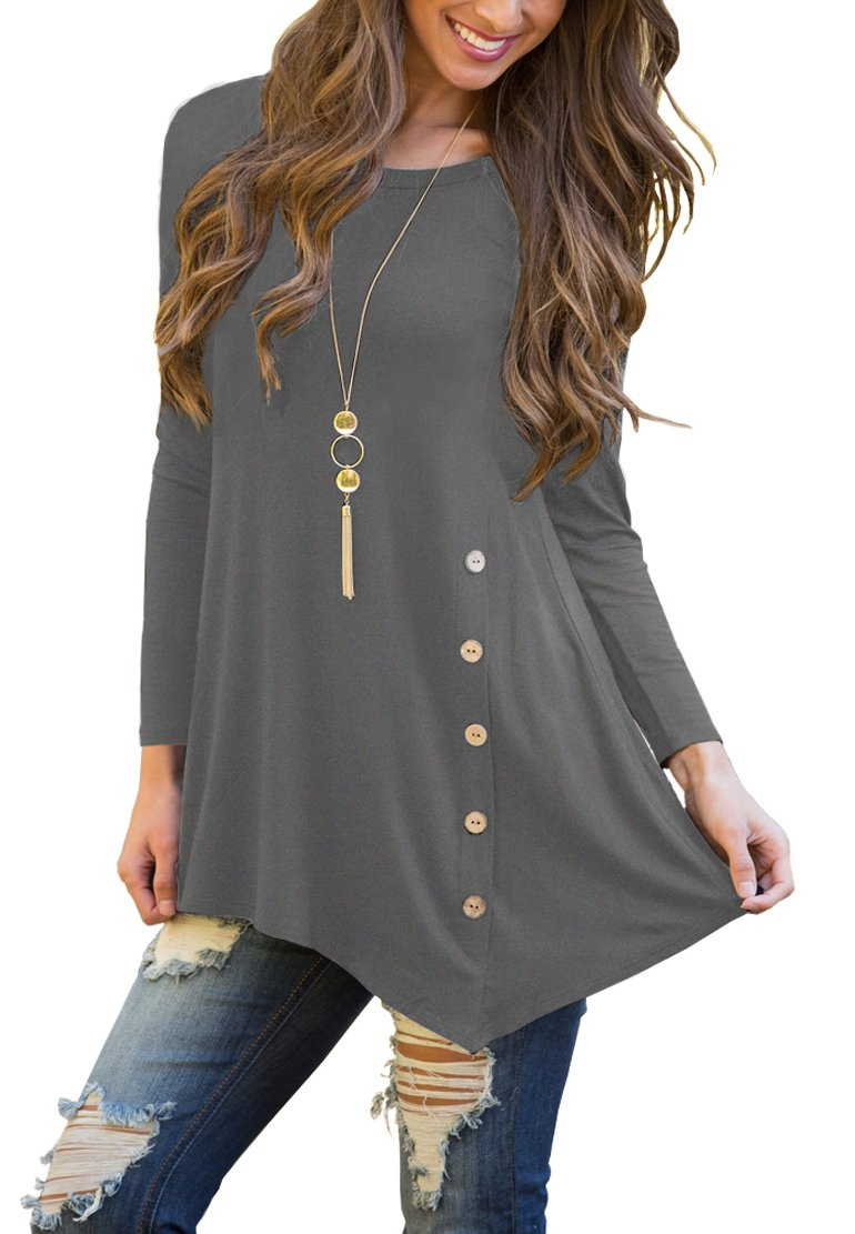 POKWAI Women's Long Sleeve Casual Scoop Neck Button Side Shirt Blouse Tunic Top Grey S
