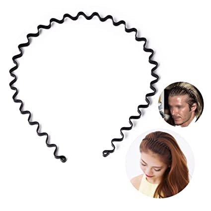 Amazon.com   S SIFUNUO Unisex Black Spring Wavy Metal Hair Hoop Band ... ebdcc104f22