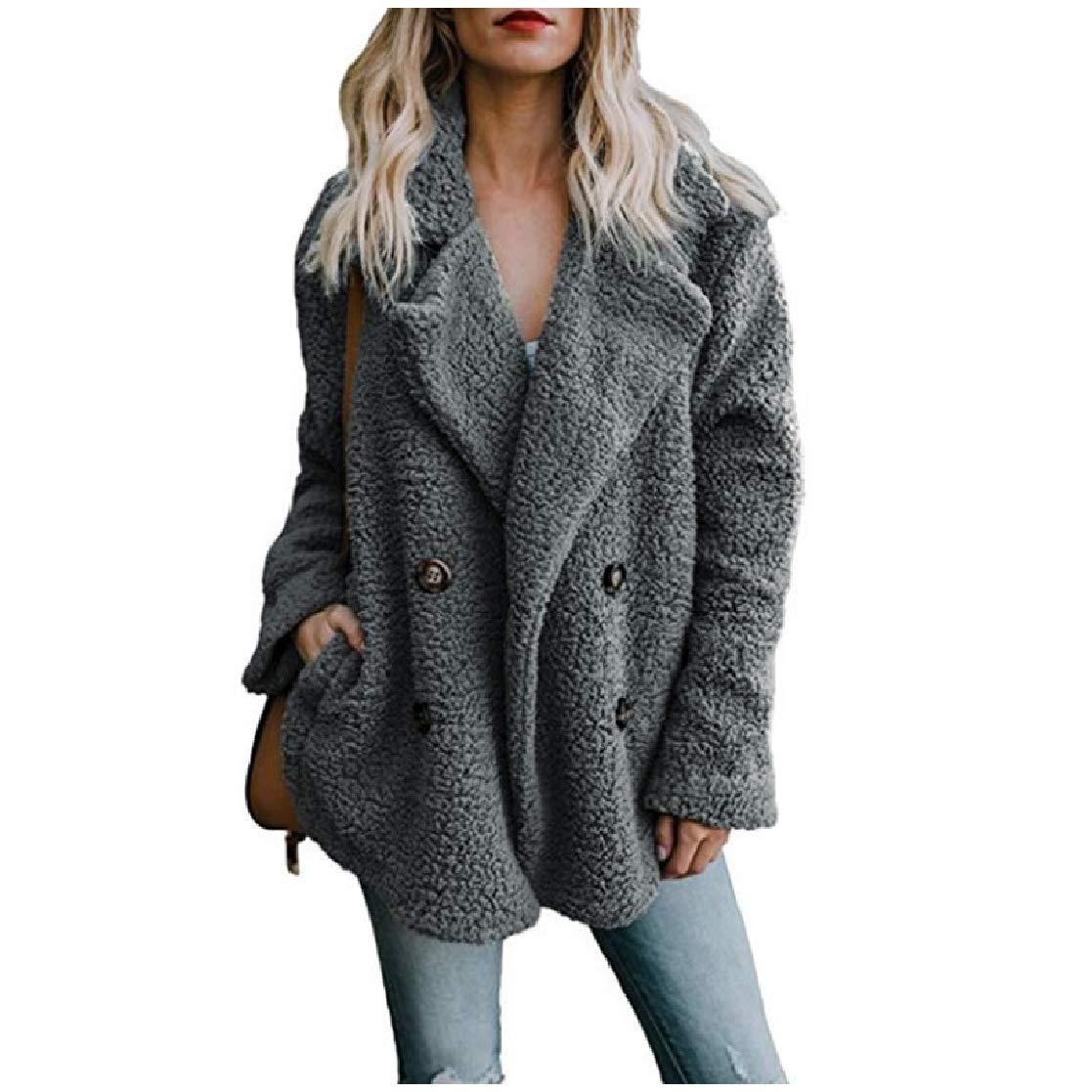 YUNY Women Loose Velvet Double Breasted Lapel Pocket Warm Outwear Coat Dark Grey 2XL