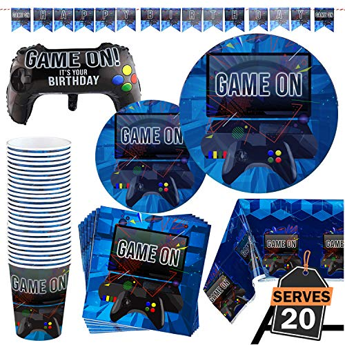 83 Piece Video Gaming Party Supplies Set Including Banner, Plates, Cups, Napkins, Tablecloth, X-Large Joy Stick Controller Balloon - Serves 20]()