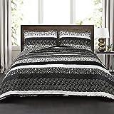 Lush Decor Lush Décor Boho Stripe 3Piece Quilt Set, Full/Queen, Black/White