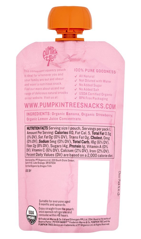 Peter Rabbit Organics Strawberry and Banana 100% Pure Fruit Snack, 4 Ounces Squeeze Pouch, (Pack of 18) (Pack of 18) by Peter Rabbit (Image #2)