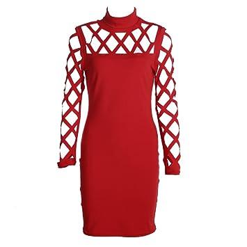 Vestido corto de Domybest, de tubo, ideal para fiestas y cóctel rojo rosso large