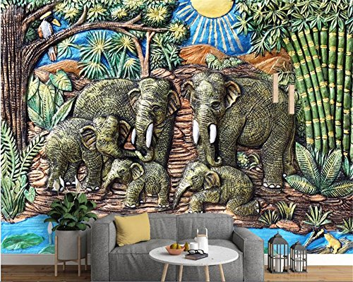 Elephant Wood Mural (BZDHWWH Custom Fashion Personalized Wallpaper Southeast Asia Style Elephant Wood Relief Mural Wall Paper Home Decor Background,240cm (H) x 360cm (W))
