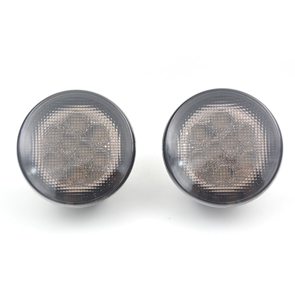 Pair LED Turn Signal Light Assembly w/Smoke Lens for 07-18 Jeep Wrangler JK, 12V 4W 2000K Yellow Light Right Grill Turn Signal LED Front Blinker