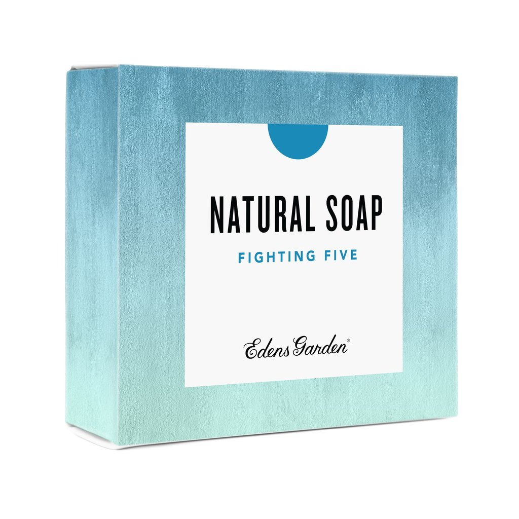 Edens Garden Fighting Five Natural Aromatherapy Cold Processed Bar Soap (Made With Essential Oils, Vegan, For Face & Body), 4.4 oz Bar