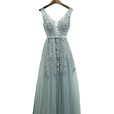 Dressydances Elegant Tulle Long Prom Dress With Appliques For Women at Amazon Womens Clothing store:
