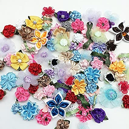 Amazon pepperlonely 50 gram approx 90pc mixed ribbon flowers pepperlonely 50 gram approx 90pc mixed ribbon flowers making fabric sewing embellishments 13 mightylinksfo