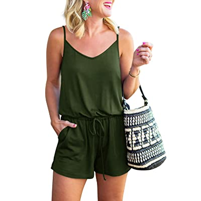 REORIA Womens Summer Loose V Neck Spaghetti Strap Short Jumpsuit Rompers: Clothing
