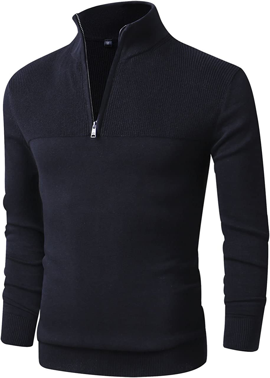 LTIFONE Men Sweater,Slim Zipper,Polo Sweater Casual Long Sleeve and Pullover with Ribbing Edge