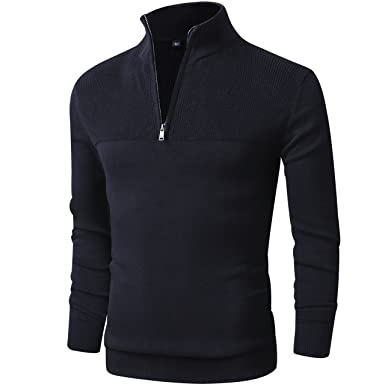 39e6535b8 LTIFONE Mens Slim Fit Zip Up Mock Neck Polo Sweater Casual Long Sleeve  Sweater and Pullover