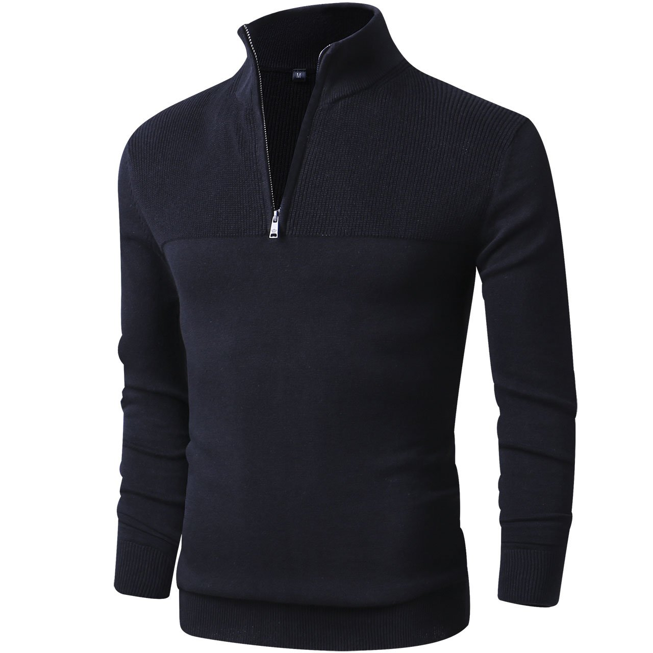 LTIFONE Mens Slim Fit Zip up Mock Neck Polo Sweater Casual Long Sleeve Sweater Pullover Sweaters Ribbing Edge(Black,3XL