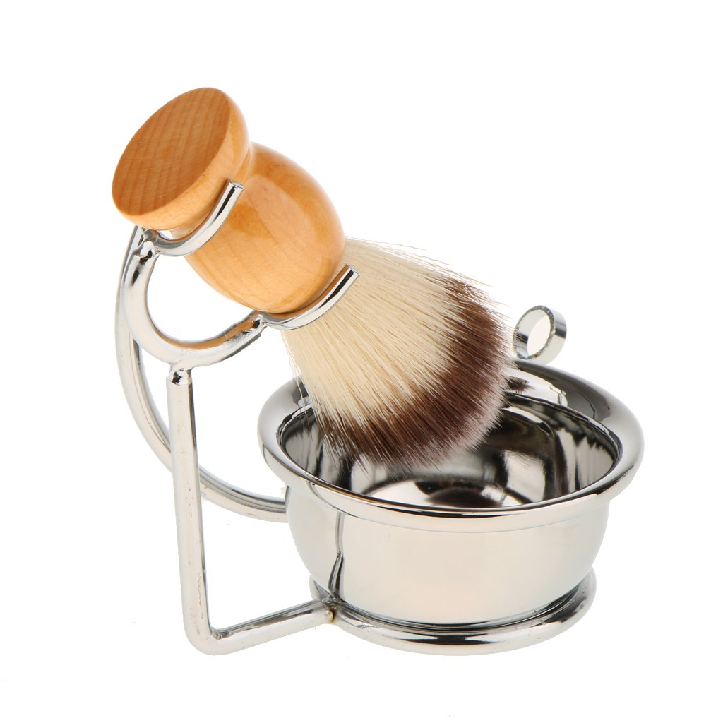 MagiDeal 3 en 1 Juego de Afeitar para Hombres Portaescobillas + Cepillo para Afeitar de Barba + Taza de Afeitar