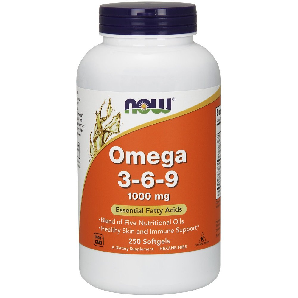 NOW Supplements, Omega 3-6-9 1000 mg with a blend of Flax Seed, Evening Primrose, Canola, Black Currant and Pumpkin Seed Oils, 250 Softgels by NOW Foods