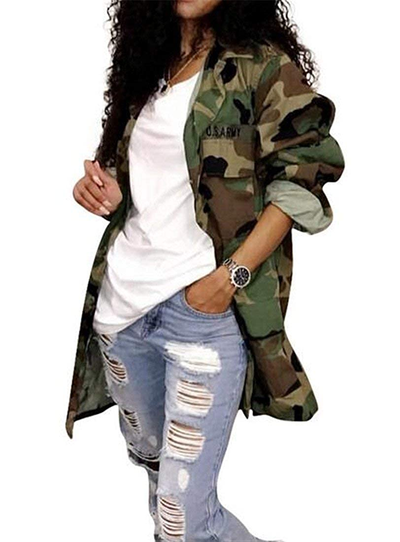 SELX Women Camo Military Mid Length Outdoor Jacket Jean Trench Coat with Pockets