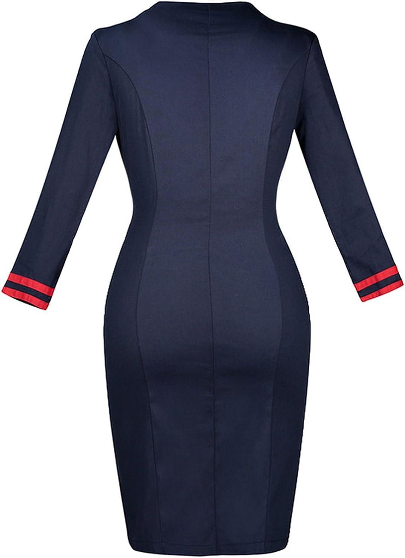 Women Vintage Dresses Blue Knee-Length Long Sleeve Sailor Collar Double-Breasted Fall Dress,Blue,XL
