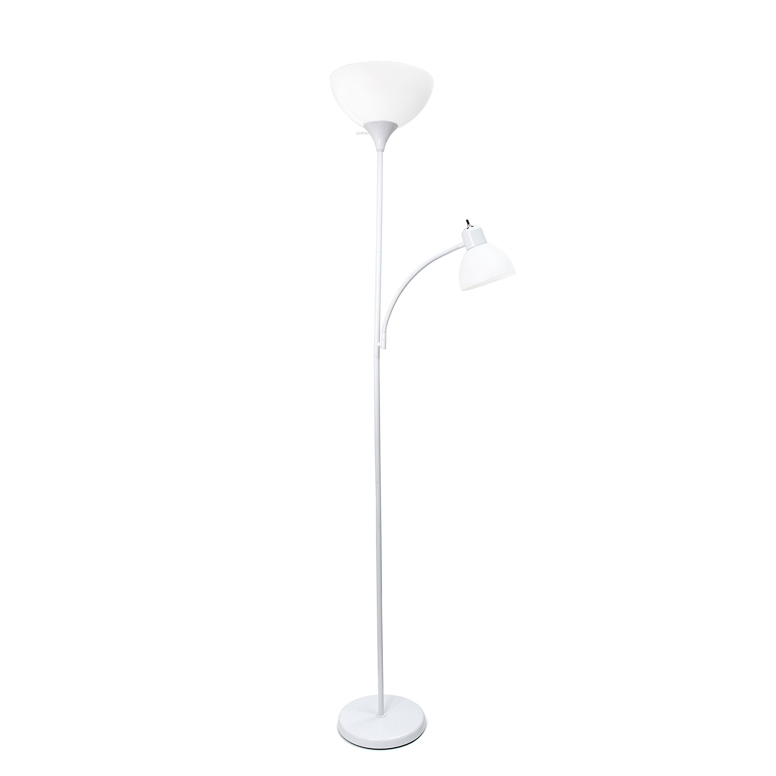 Simple Designs Home LF2000-WHT Floor Lamp with with Reading Light, White
